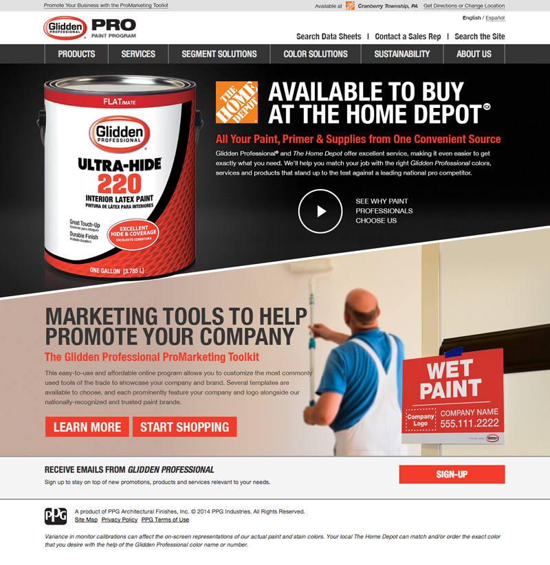 Glidden Pro At The Home Depot: Glidden Professional At The Home Depot Website Design By